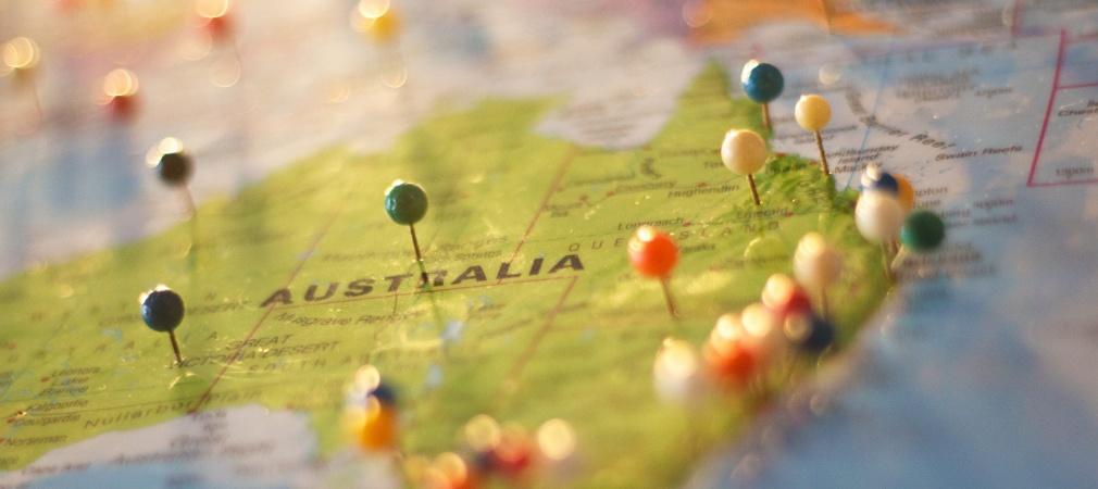 La carte du continent australien