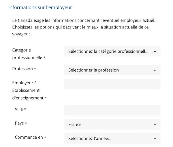 Les données de l'employeur dans le formulaire AVE Canada