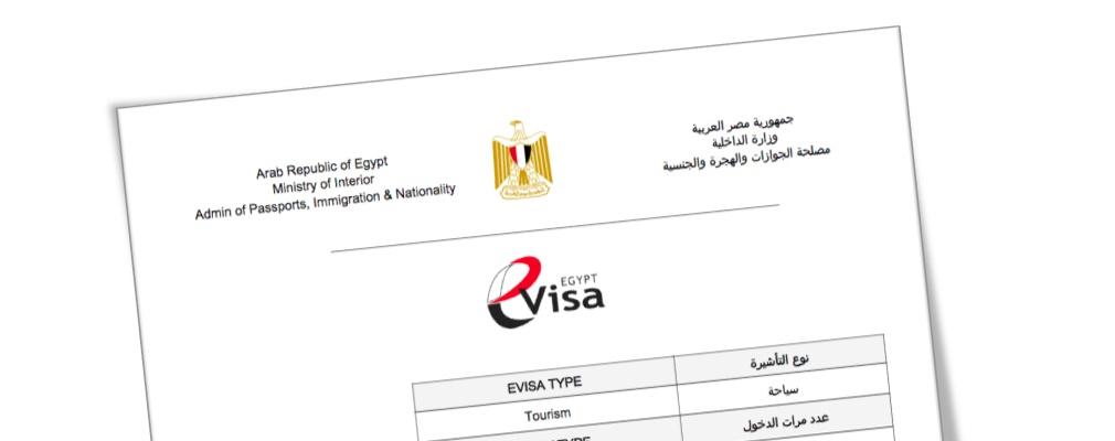 Exemple de visa Égypte