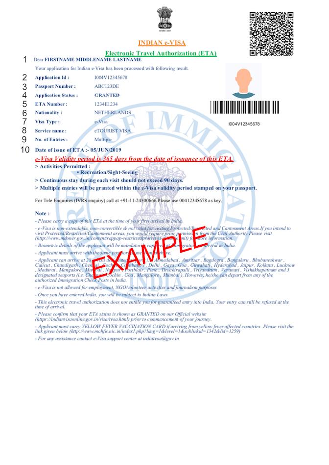 Exemple PDF du visa Inde