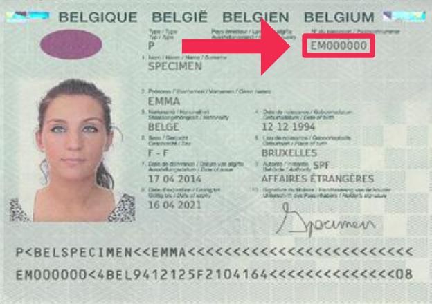 Indication du numéro sur le passeport belge